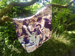 printed silk scarf with a family with babies in park