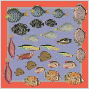 design of silk twill scarf with colorful fish in lavender