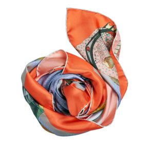 colorful orange printed silk twill scarf bunch