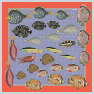 design of small silk scarf with colorful fish in lavender
