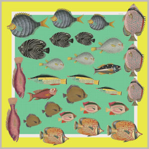 design of silk twill scarf with colorful fish in green