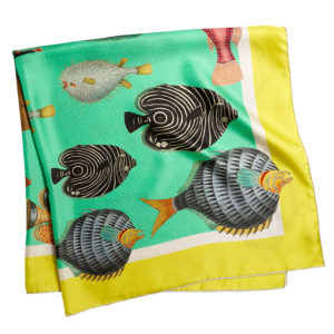 printed green silk twill scarf with colorful fishes folded