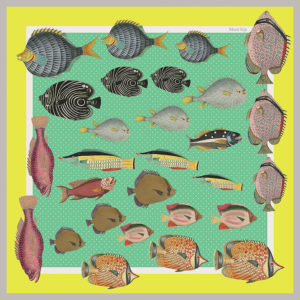 design of small silk scarf with colorful fish in green