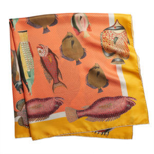 printed orange silk twill scarf with colorful fishes folded