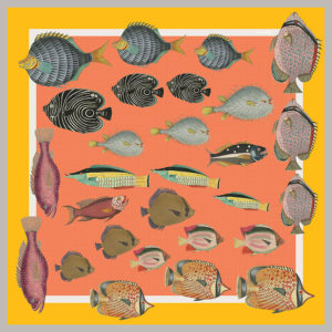 design of small silk scarf with colorful fish in orange