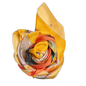 yellow and orange printed silk twill scarf bunch