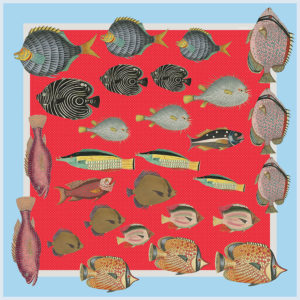design of silk twill scarf with colorful fish in red