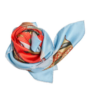colorful red printed silk twill scarf bunch