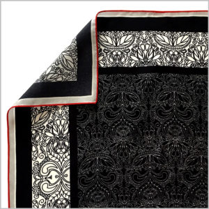 edge of silk twill scarf with bourdon hem finishing