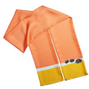 long printed silk color block polka dots and fishes scarf