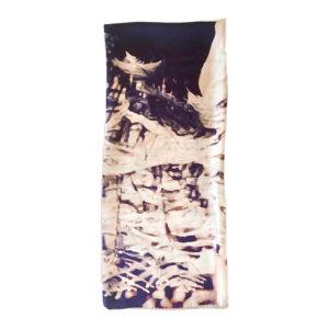 folded printed silk twill scarf