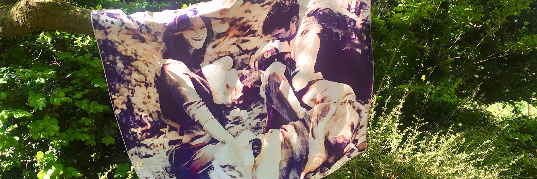 printed silk scarf of family with babies and dog