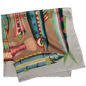 printed grey silk twill scarf with exotic fishes folded