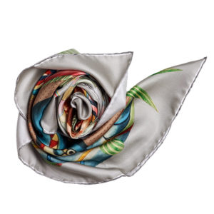 grey printed silk twill scarf bunch with hand rolled hem