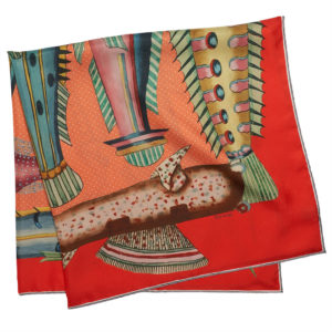 printed red silk twill scarf with exotic fishes folded