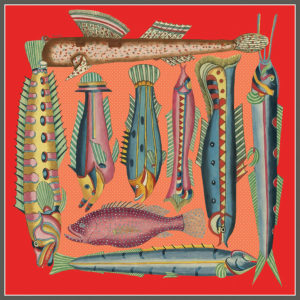 design of silk twill scarf with exotic fish in red