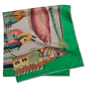 printed green silk twill scarf with exotic fishes folded