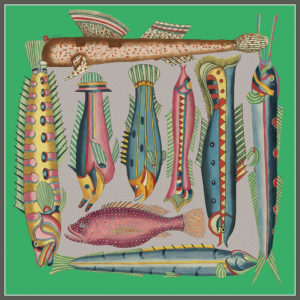 design of silk twill scarf with exotic fish in green