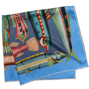 printed blue silk twill scarf with exotic fishes folded