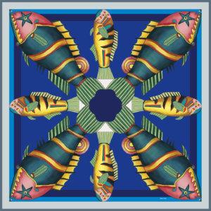 graphic fish printed blue silk twill scarf