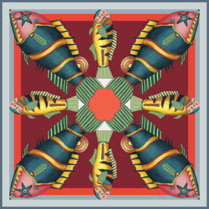 graphic fish printed red silk twill scarf design