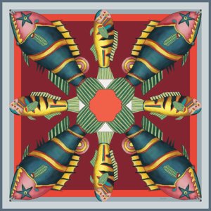 graphic fish printed small red silk twill scarf
