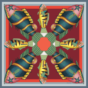 graphic fish printed small red silk twill scarf design