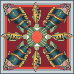 fish printed red silk scarf with initial q