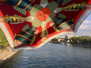 fish printed red silk scarf with initial q over the Seine