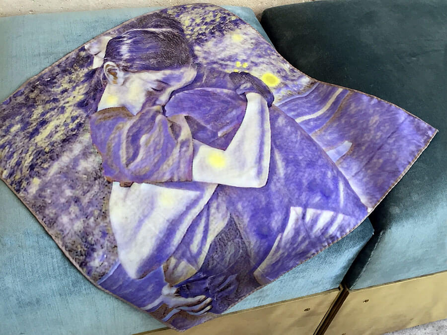 printed purple silk scarf with father and daughter on sofa