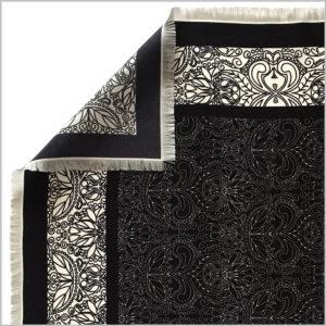 edge of silk twill scarf with hand fringe hem finishing
