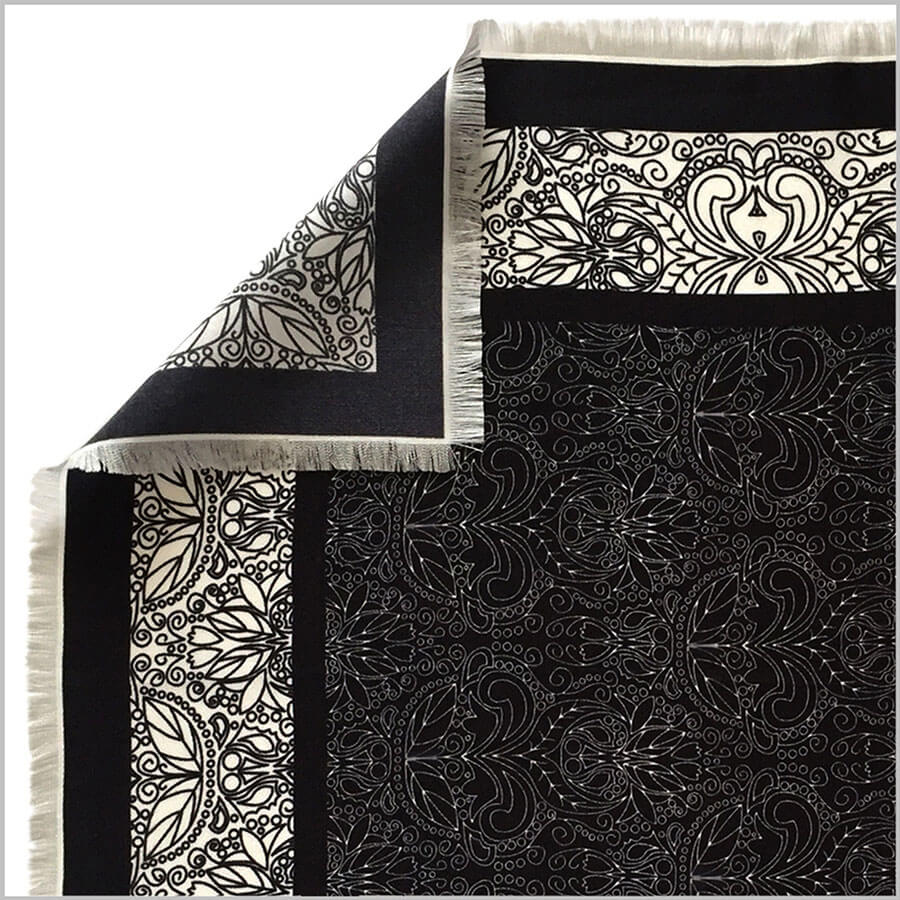 edge of silk twill scarf with hand fringe hem finishing