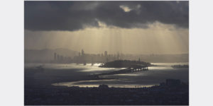 san francisco bay area in dramatic light before storm