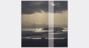 square silk twill scarf of san francisco city view