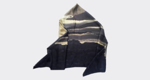 folded printed silk twill scarf of city view