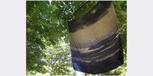 printed silk twill custom made scarf of san francisco on tree