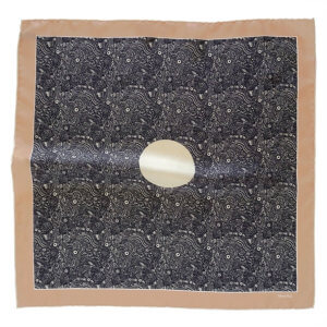 beige and black silk twill pocket square with circle