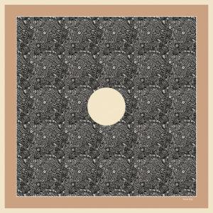 beige and black silk twill pocket square design