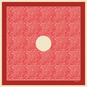 red delicate pocket square with circle in the middle