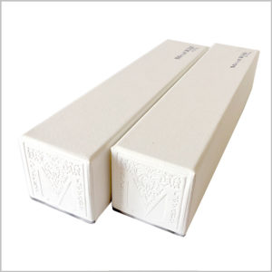 white Tubular mont kiji gift box with logo embossing