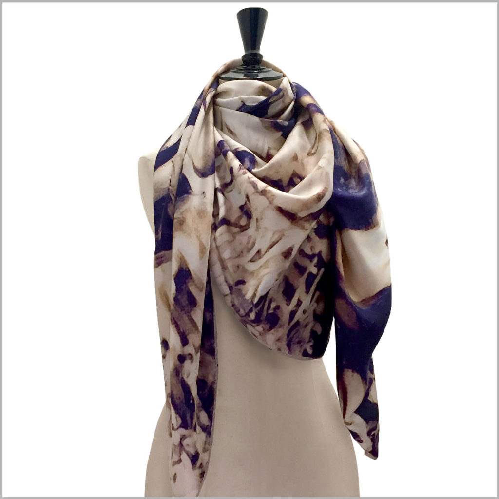 mannequin with oversized printed silk twill scarf