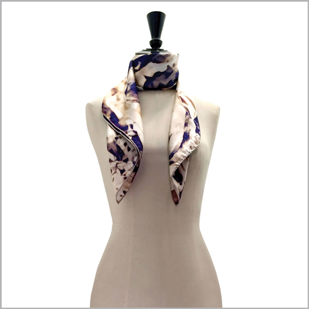 mannequin with big printed silk twill scarf