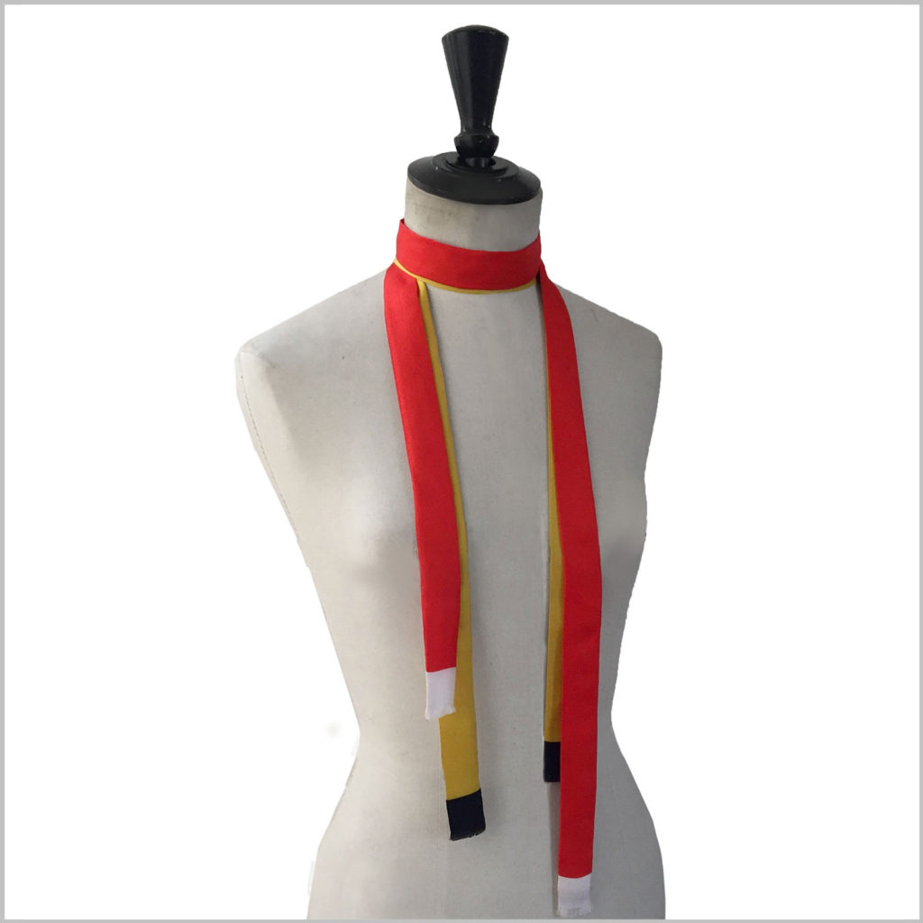 mannequin with pair of long skinny silk twill scarves