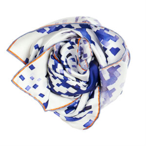 blue and white printed silk twill scarf bunch