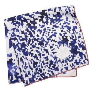 blue printed silk scarf with mosaic flower folded