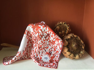 red mosaic flower printed scarf with embroidery initial