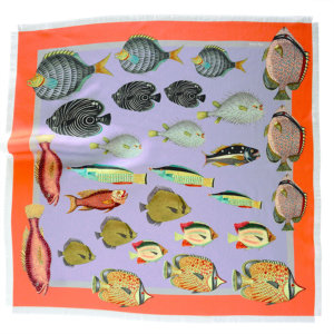 printed lavender silk twill scarf with colorful fish and fringes