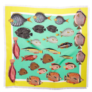 printed green yellow silk twill scarf with colorful fish and fringes