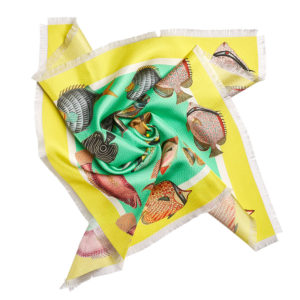 printed green silk twill scarf with colorful fish and fringes