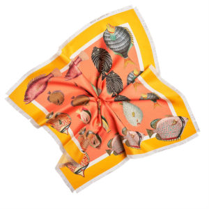 printed orange silk twill scarf with colorful fish and fringes